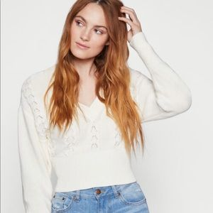 BCBGeneration White Cropped Sweater - New